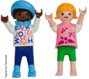 two Playmobil girls with their hands in the air