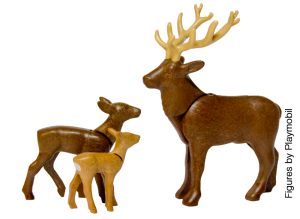 mummy reindeer with two youngsters